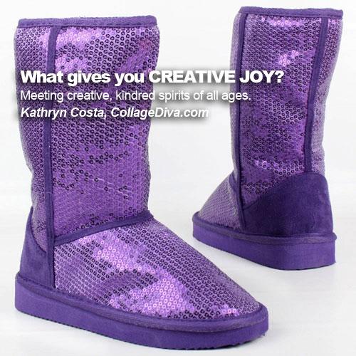 Kathryn Costa - Collage Diva: Purple Sequin Boots